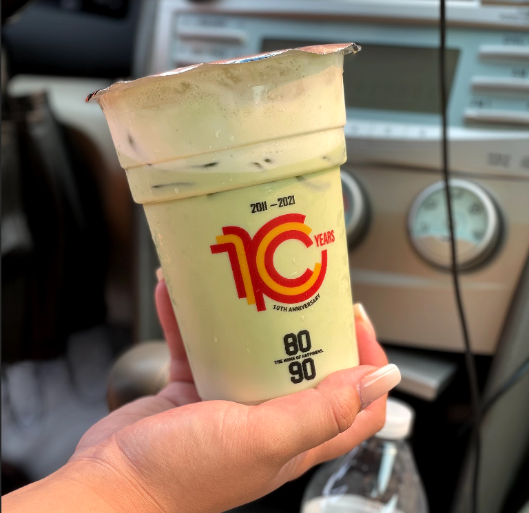 Keith Bach is refreshed by an iced Matcha Green Tea boba from 8090