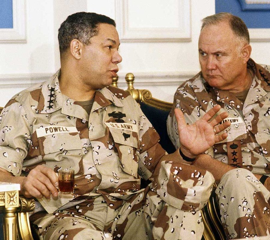 General Colin Powell with  General Schwarzkopf in 1991