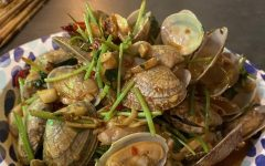 Clams with garlic, scallion, and peppers