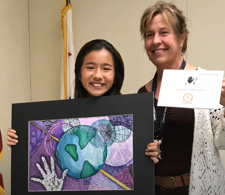 Third place prize for Earth and palm sketch, 2017